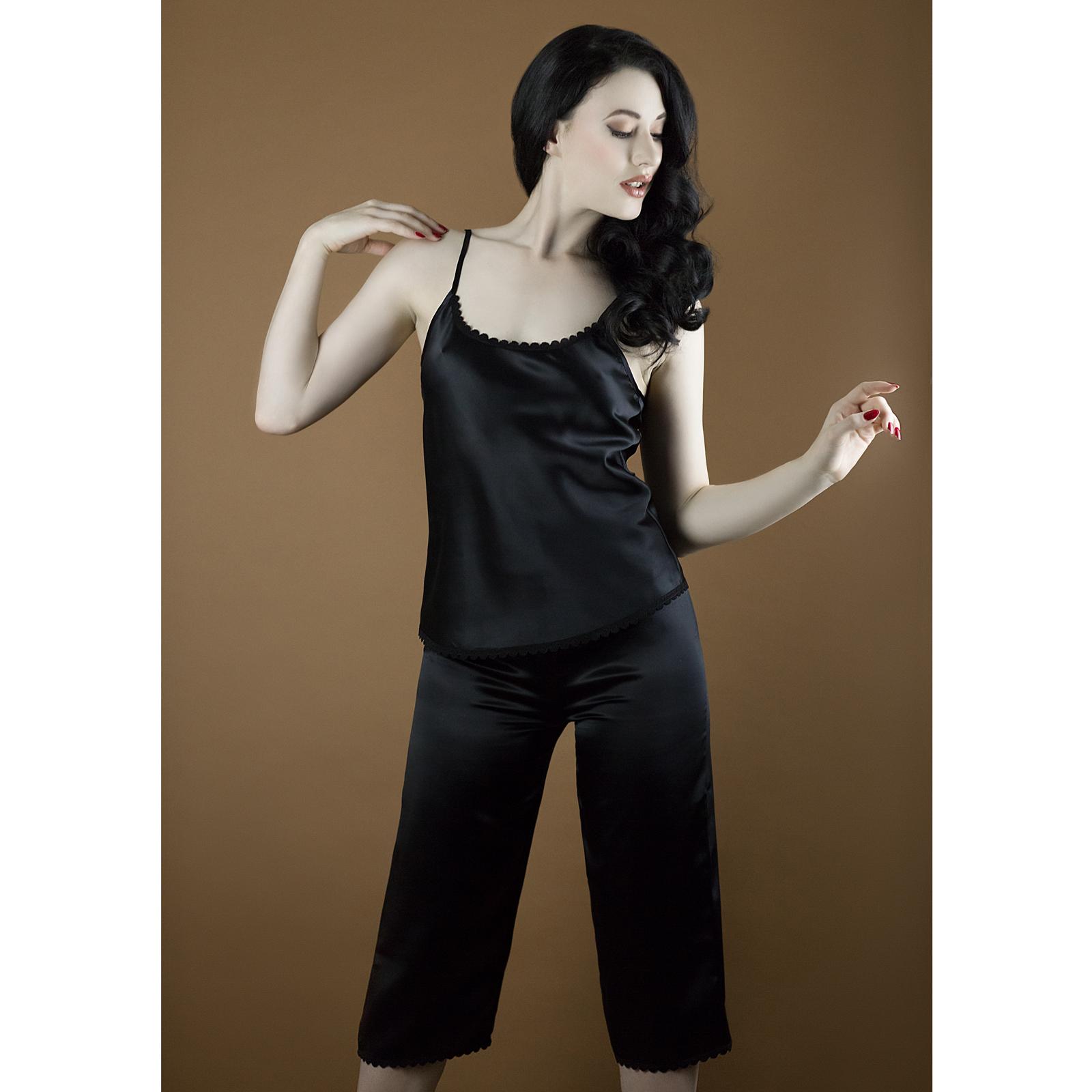 Strings & Pants Ana Black Silk Pyjama Pants