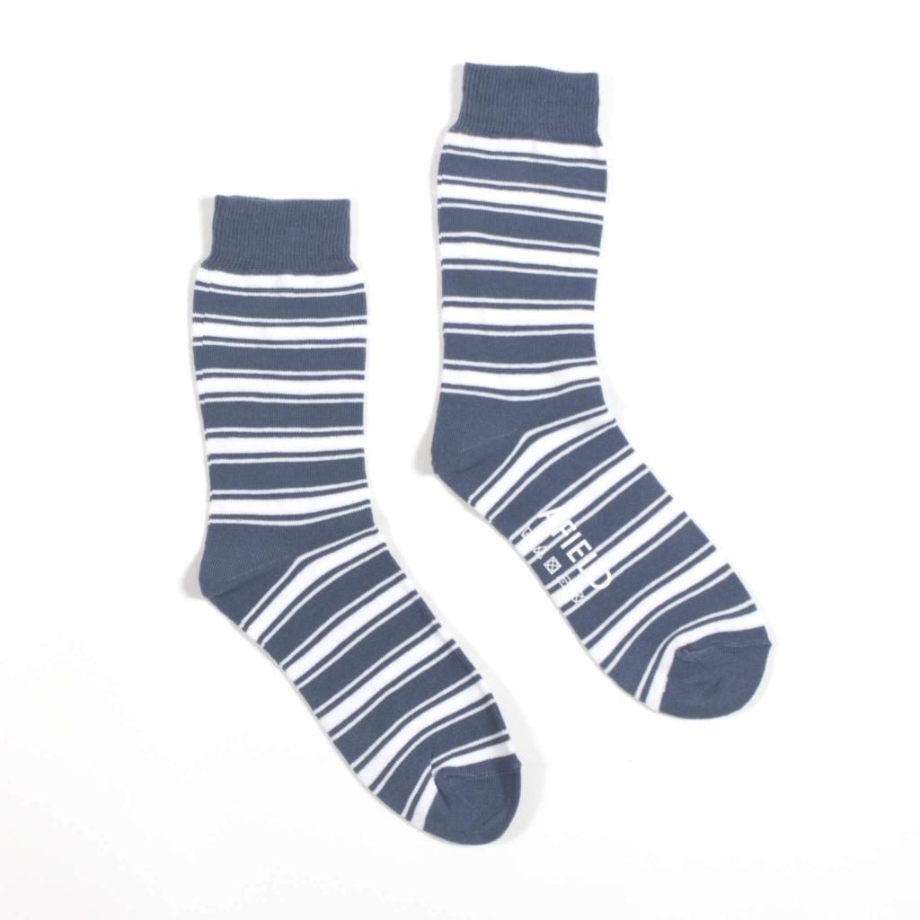 Afield Blue White Stripe Socks