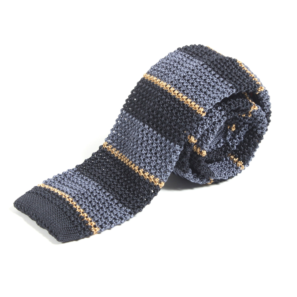 Trouva Nick Bronson Stripe Steel Blue Navy Gold Knitted