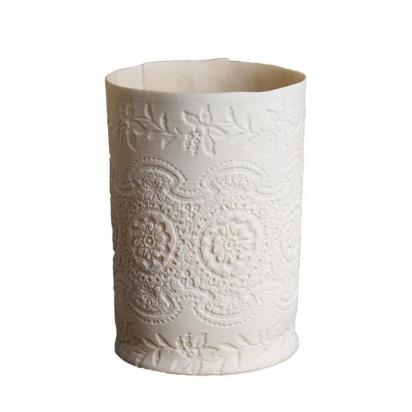 Leonora Richardson Large Vintage Lace Porcelain Votive