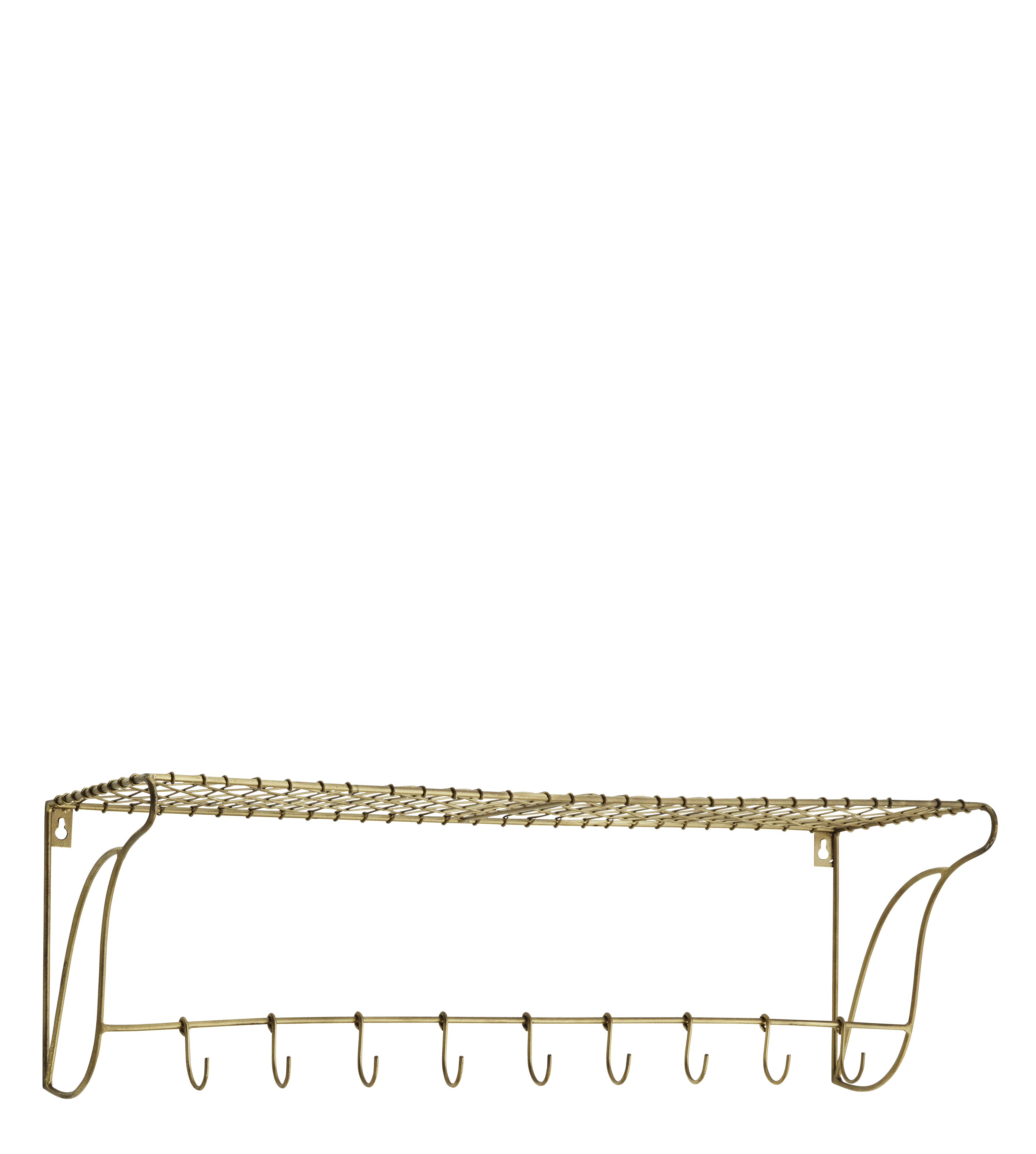 Astounding Madam Stoltz Brass Wire Shelf With 9 Hooks Gmtry Best Dining Table And Chair Ideas Images Gmtryco