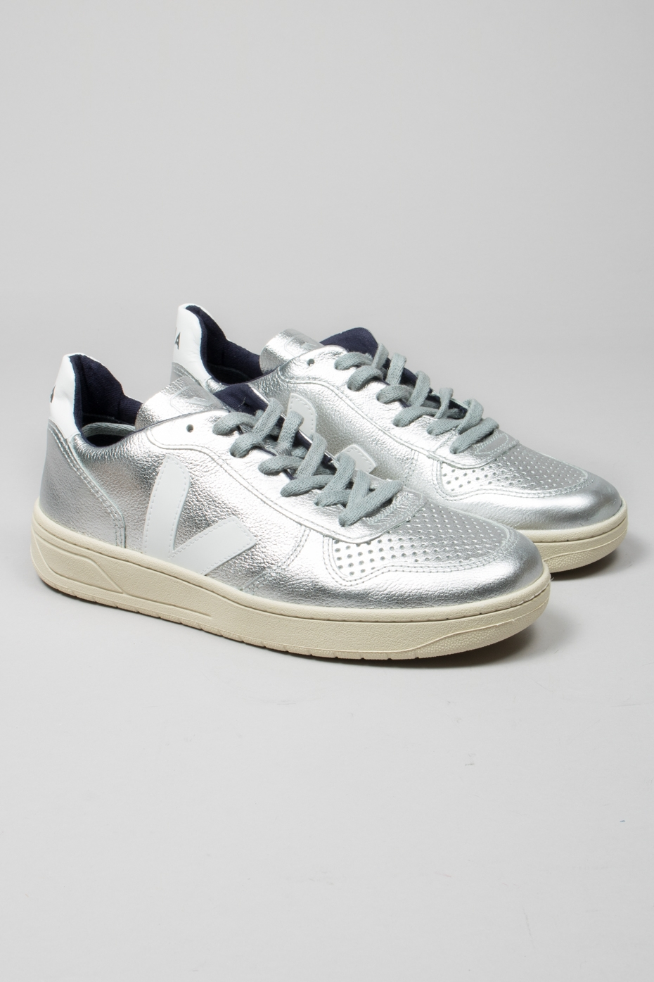 Trouva: Silver V 10 Leather Trainers