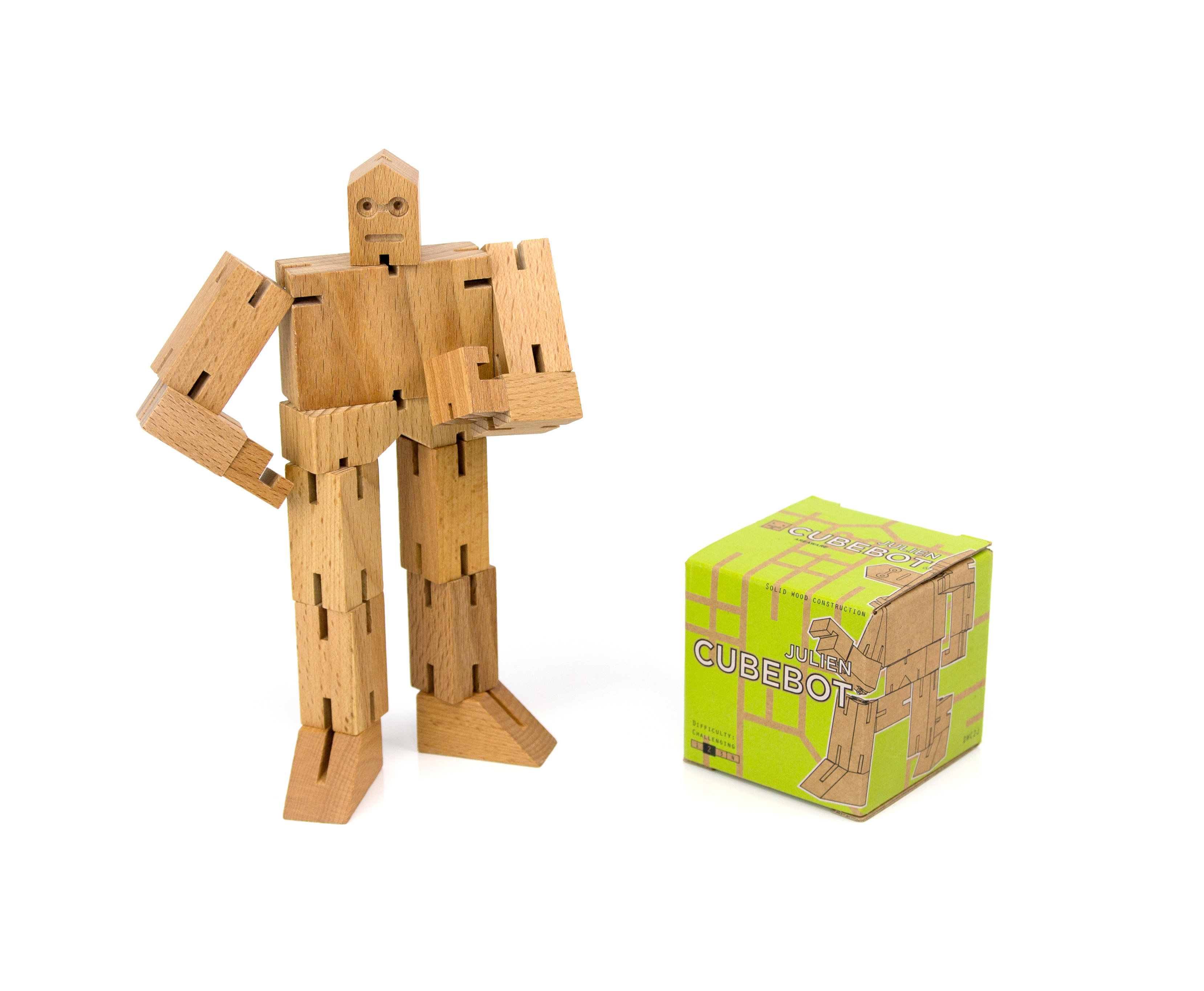 Trouva Areaware Julien Wooden Cubebot Toy Puzzle
