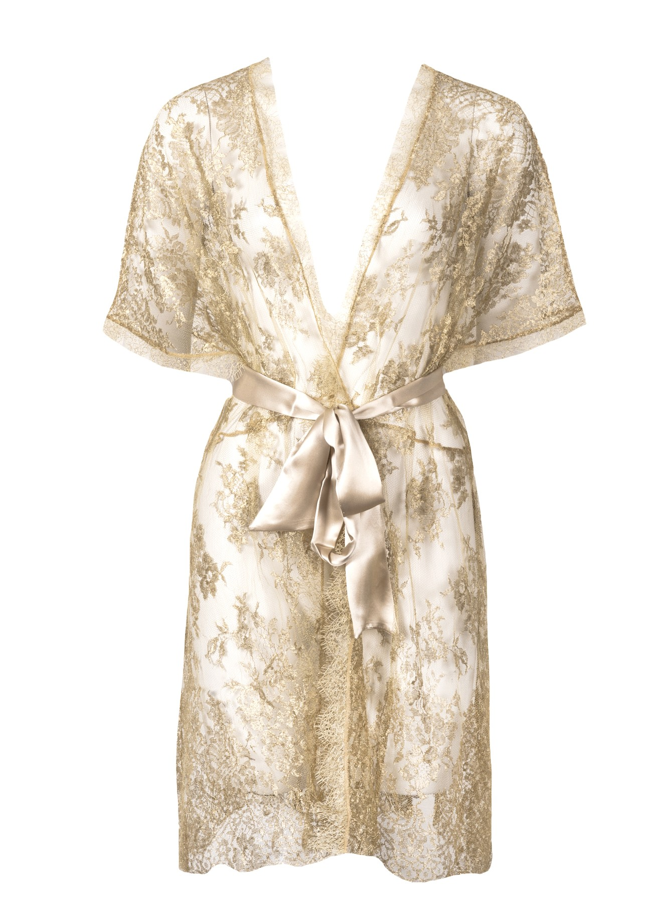 88be12573d Trouva: Gilda & Pearl Harlow Gold Lace Kimono Dressing Gown