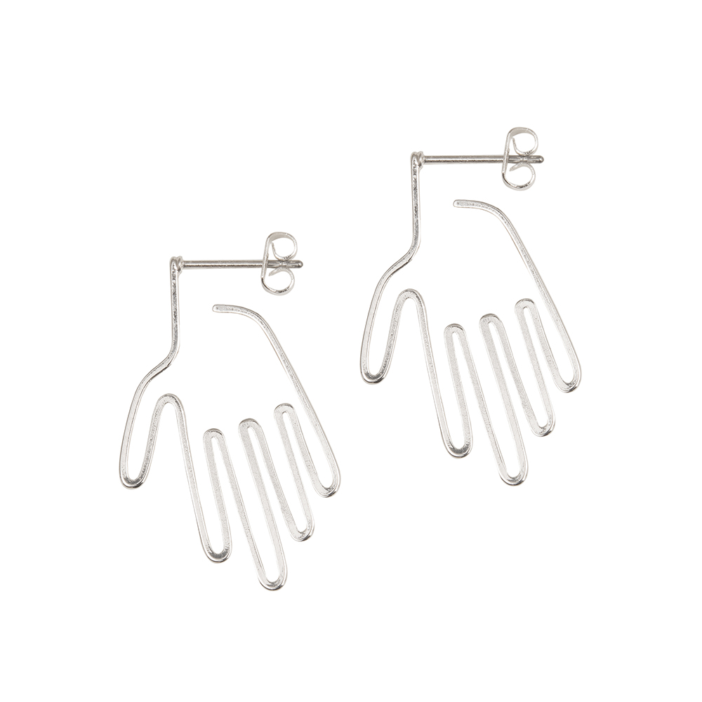 A Weathered Penny  Silver Hand Earrings