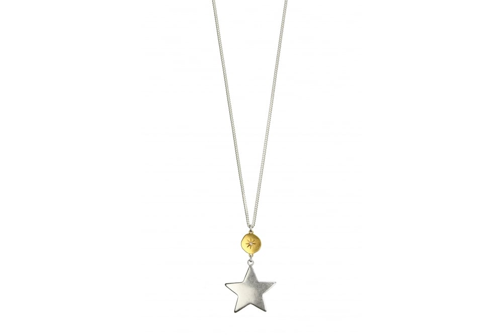 9830bbb931ccc Hultquist-Copenhagen Moon Star Gold And Silver Long Pendant Necklace