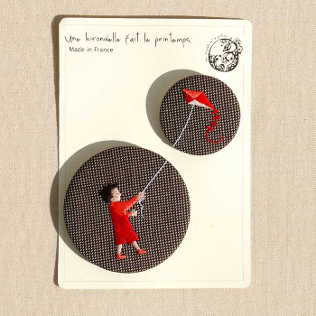 Kite Boy Duo Embroidery Badge