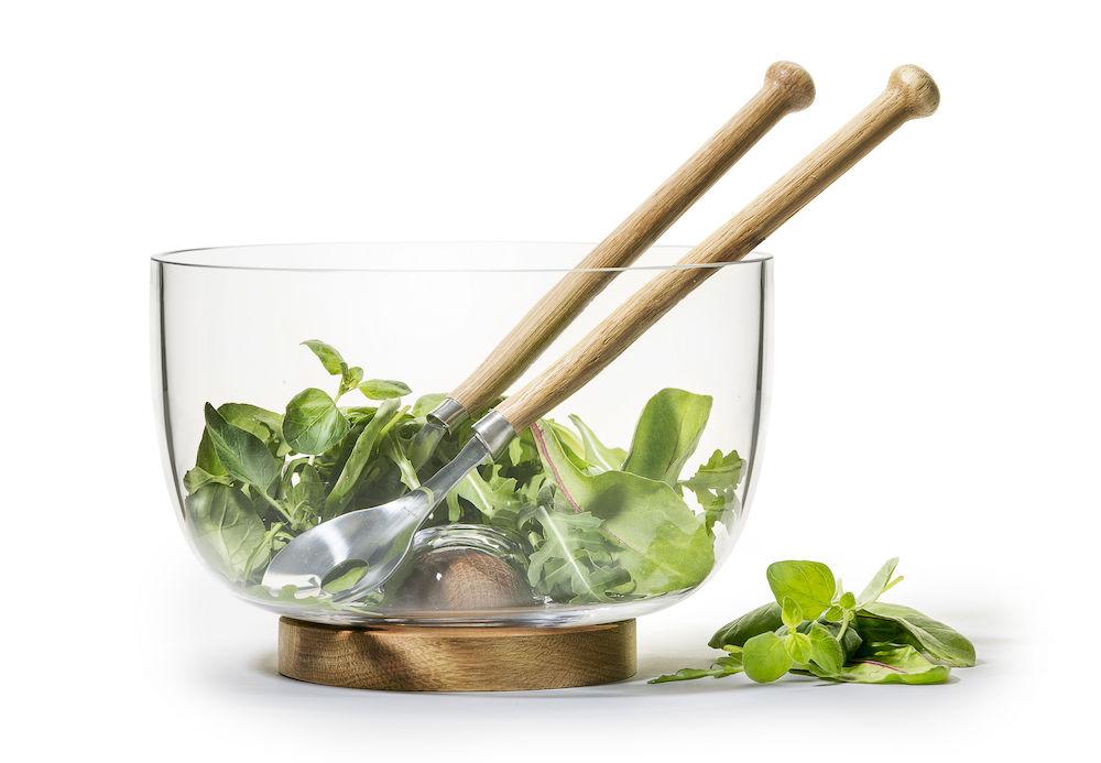 Sagaform Oak Base Glass Bowl