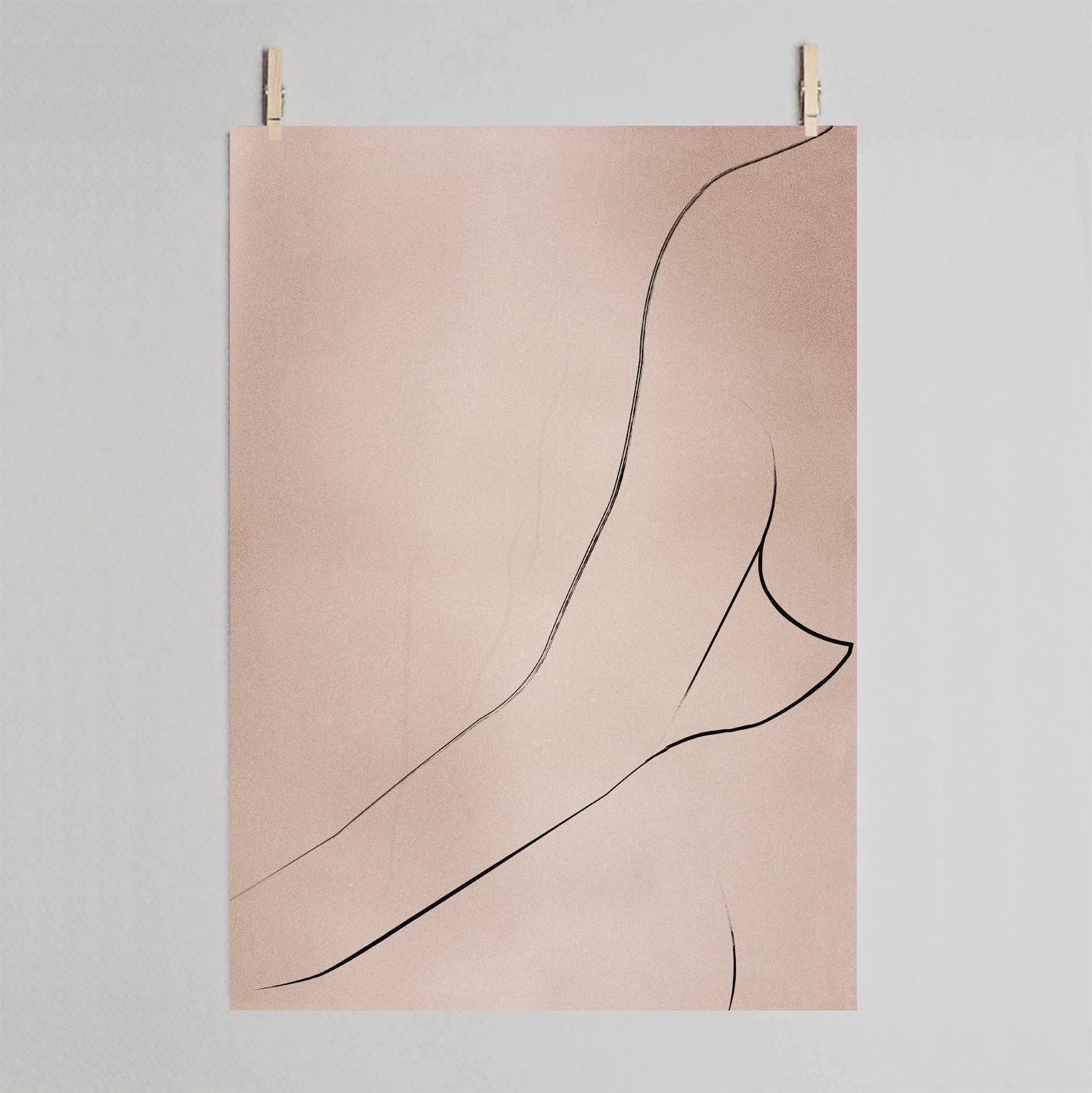 Dowse Curve Figurative Line Drawing Art Print
