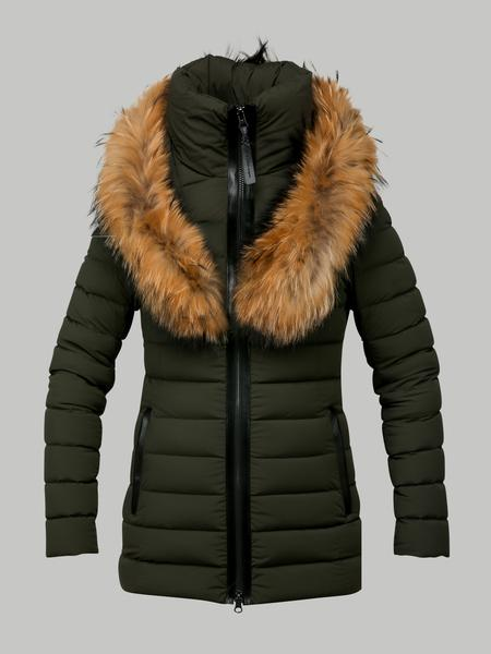 Mackage Kadalina Army Light Down Jacket With Fur Trim