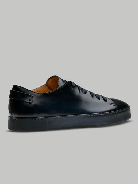 Santoni Midnight Blue Full Leather Derby Low Top Brogue