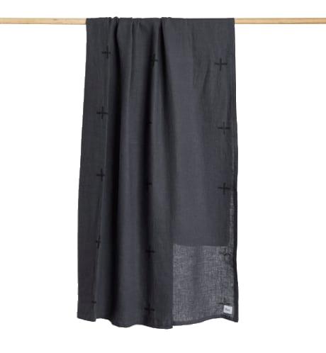 Otis Charcoal Linen Throw