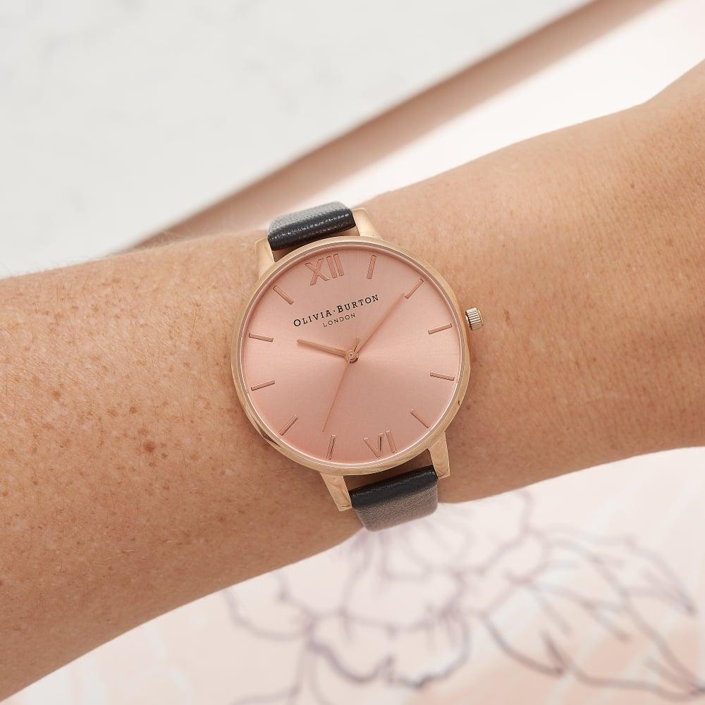 Olivia Burton London Big Dial Black & Rose Gold Watch
