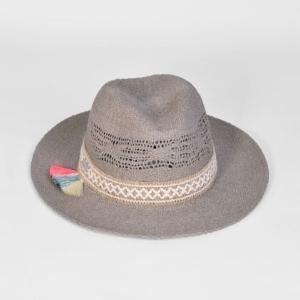 fd9eb3ceb3344 Trouva  In Taupe With Tassel Trim Fedora Hat