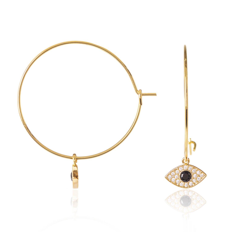 C J M Evil Eye Hoop Earrings