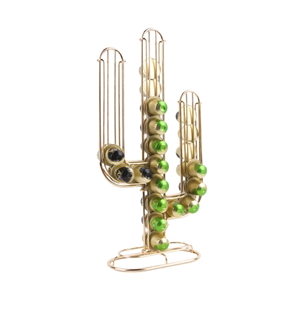 Present Time Gold Cactus Coffee Pod Holder