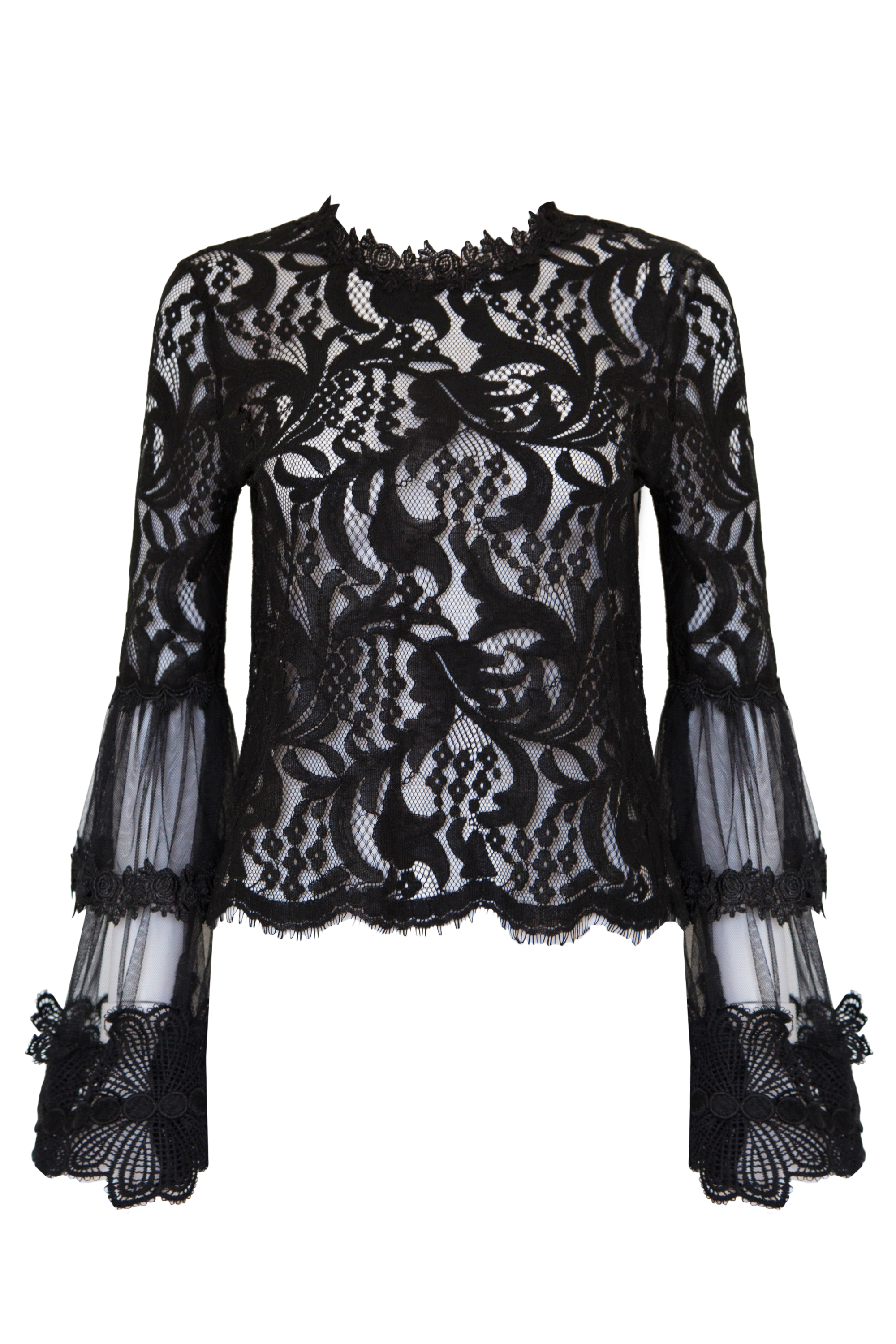 397f561eadf0f6 Trouva: Style3 Black Lace Bell Sleeves Top