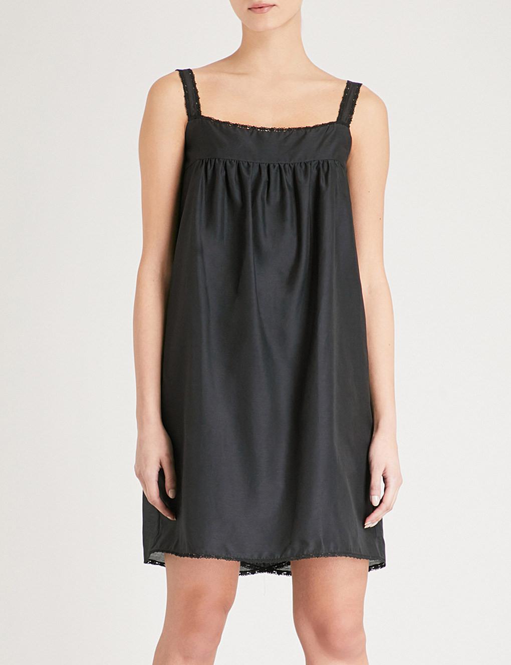 Trouva  Black Montauk Cotton Silk Short Chemise ecd394e72