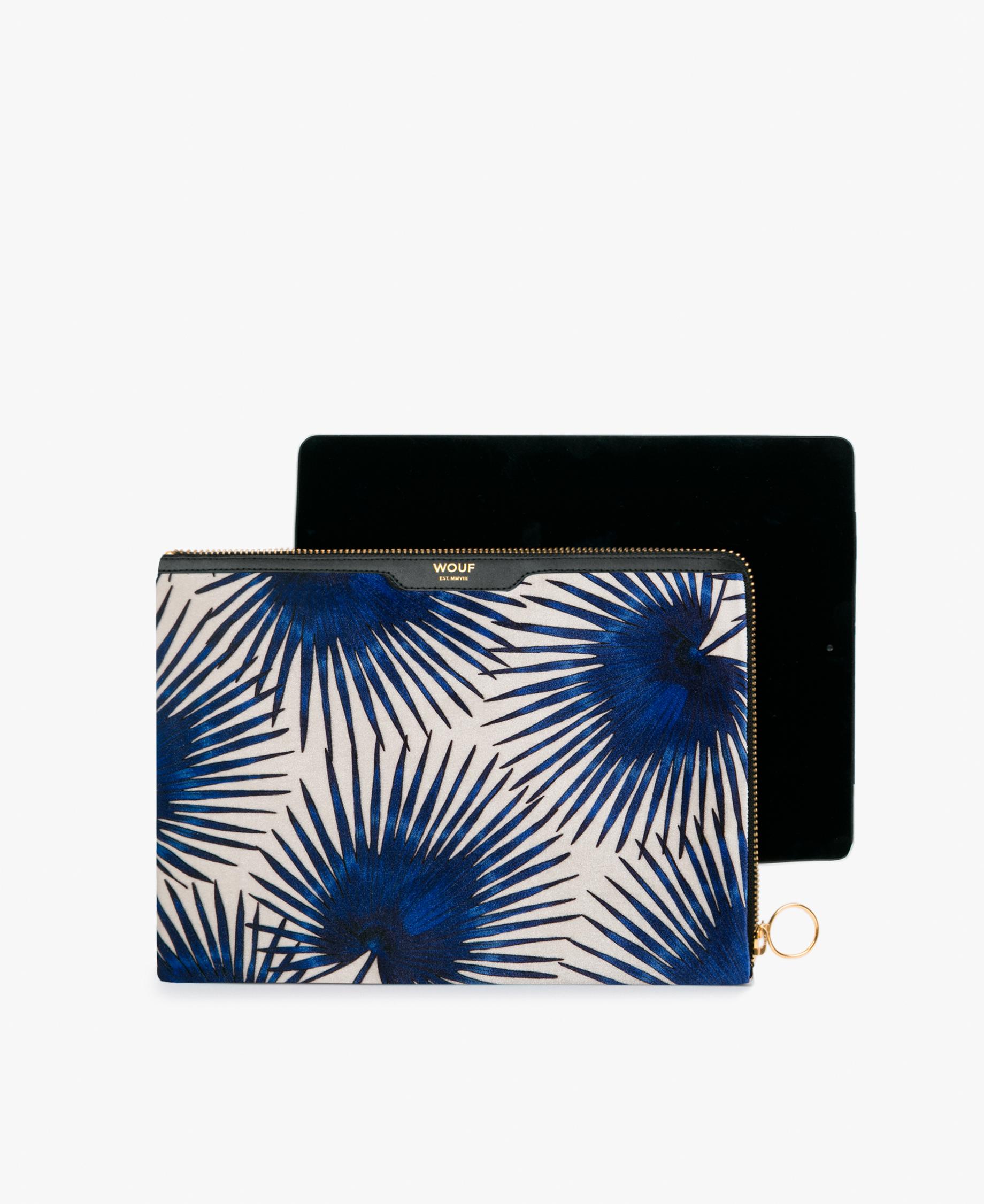 Wouf Blue Palms Velvet iPad Case