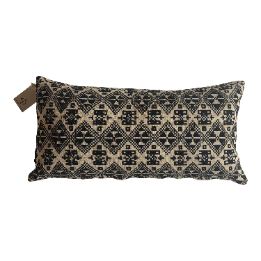 Long Black Natural Tribal Vietnamese Cushion