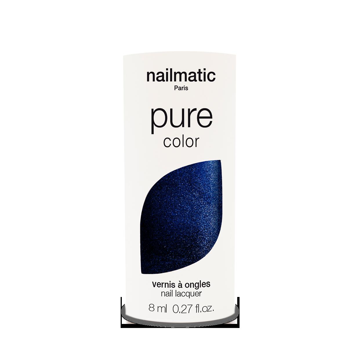 Nailmatic PURE Marnie Midnight Blue Shimmer Bio-Based Nail Polish