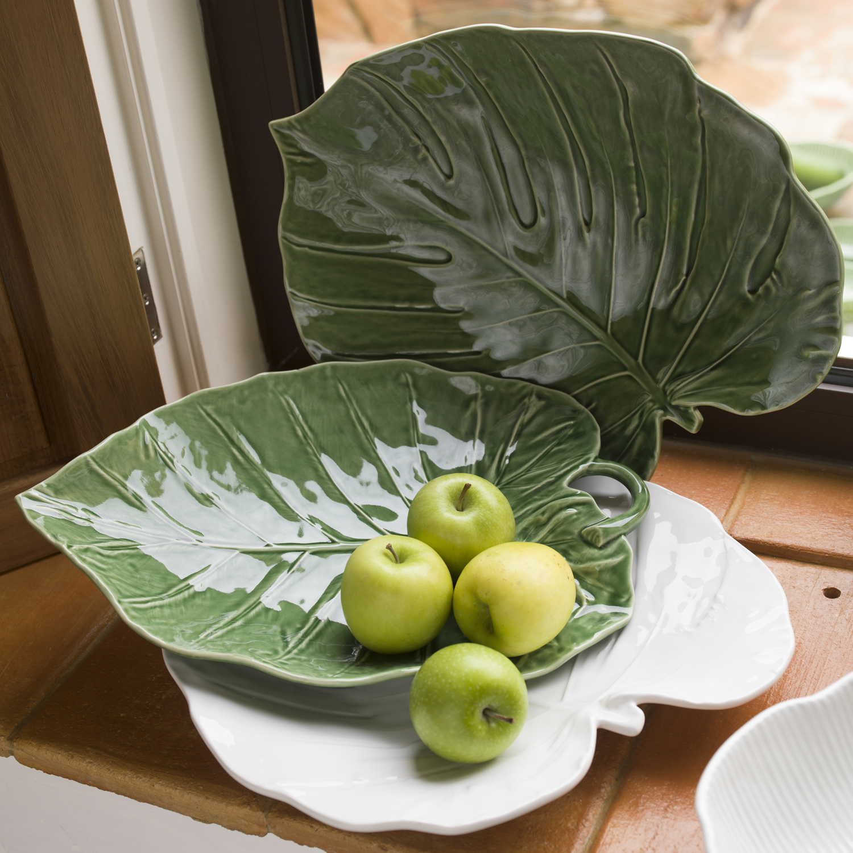 Bordallo Pinheiro Handmade White Tropical Monstera Leaf Dish