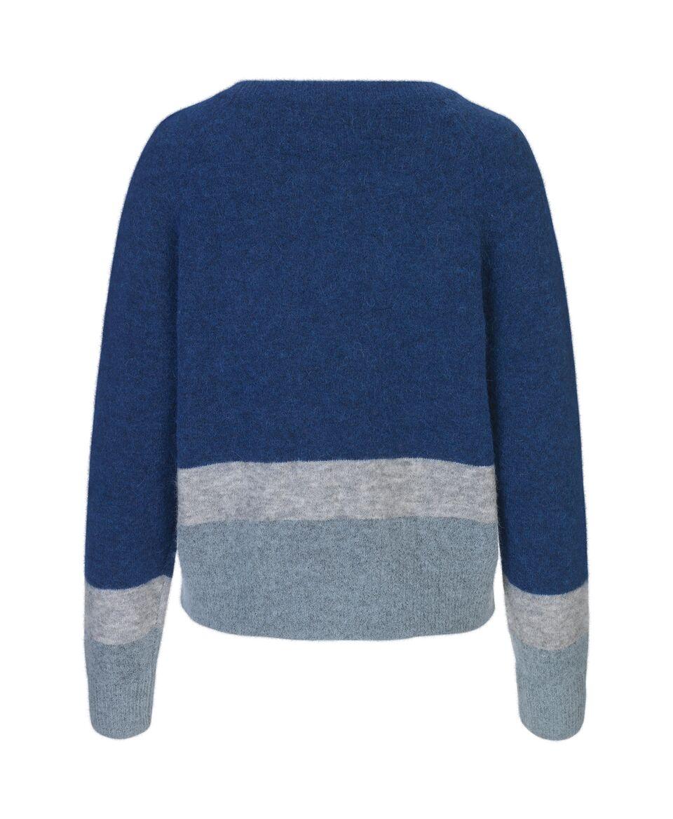 Samsoe & Samsoe Blue Depths Stripe Nor O Neck Short Sweater