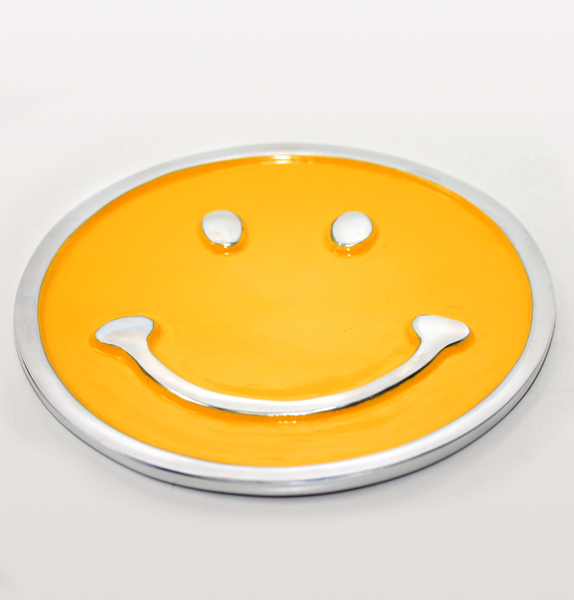 Inspired Generations Flat Yellow Smiley Face Trivet Stand