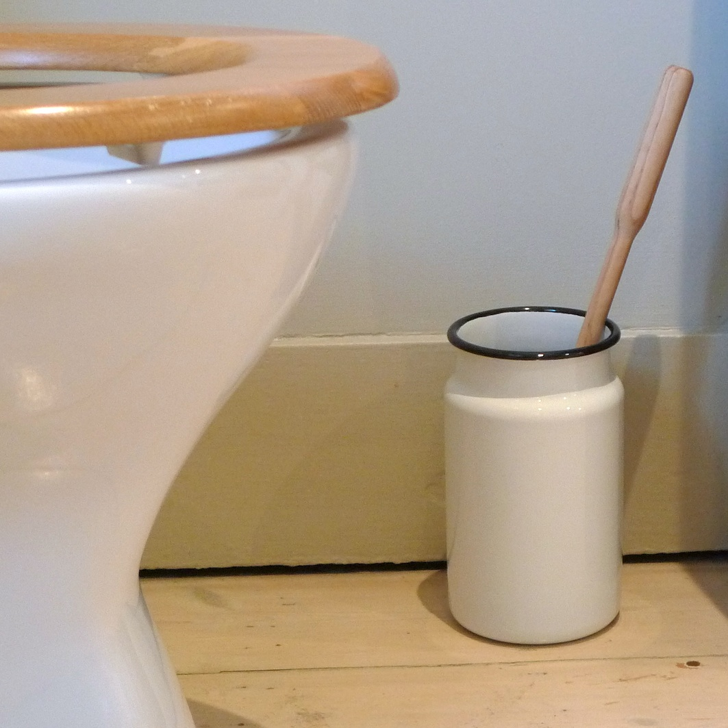 Utility Great Britain White Enamel Toilet Brush Holder