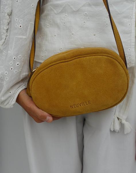 Neuville Mustard Suede Ovale Bag