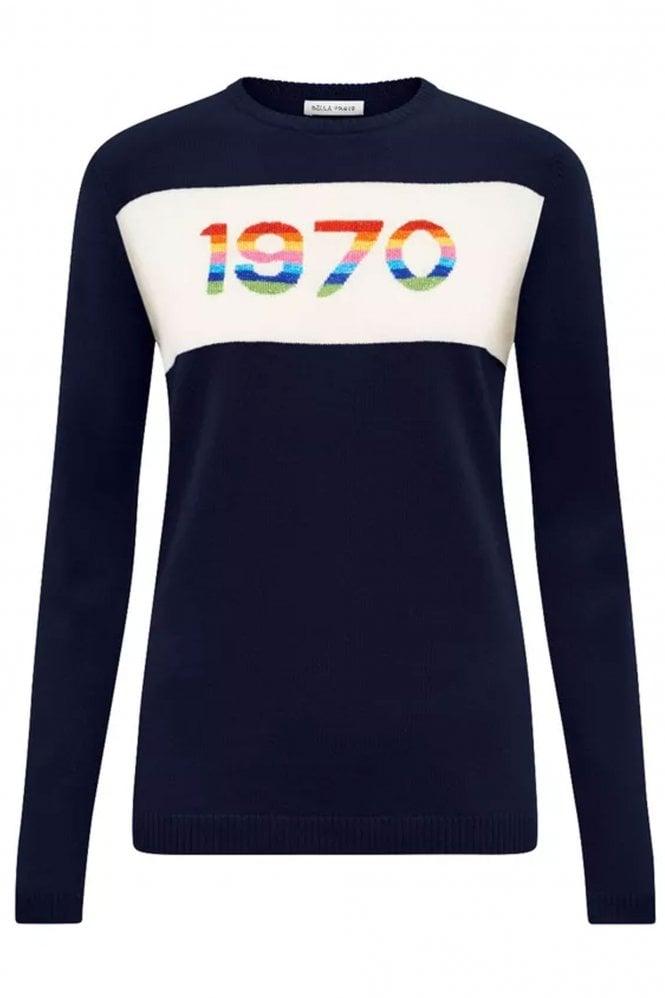 Bella Freud  Navy 1970 Rainbow Cashmere Jumper