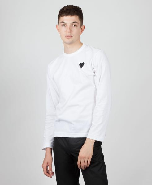 Comme Des Garcons Play White With Black Heart Logo Play Long Sleeved T Shirt