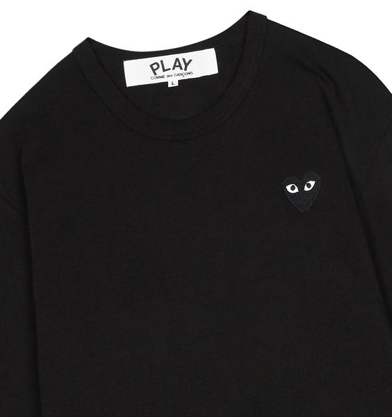 Comme Des Garcons Play Black With Black Heart Logo Play Long Sleeved T Shirt