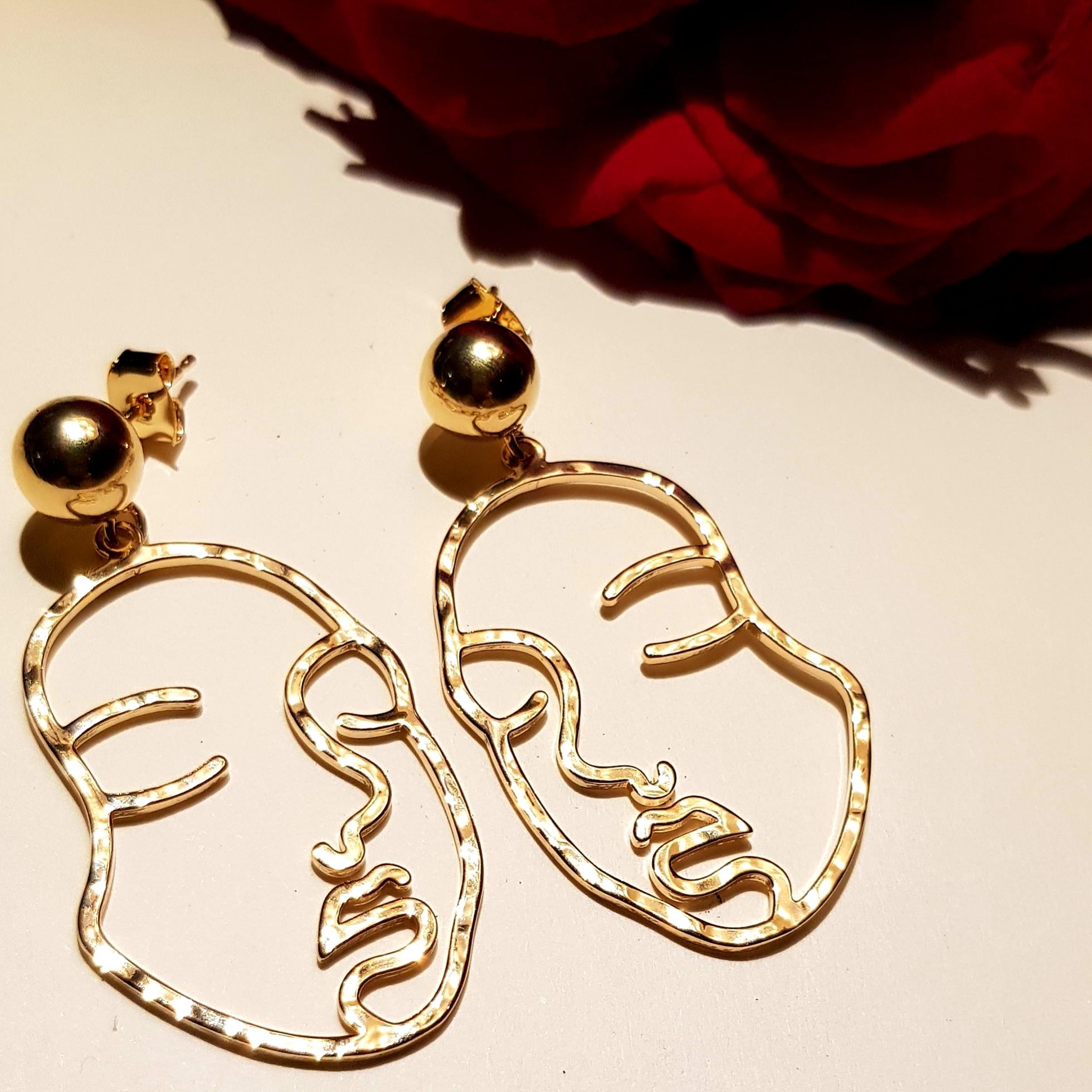 Silhouette Earrings: Trouva: Face Silhouette Earrings