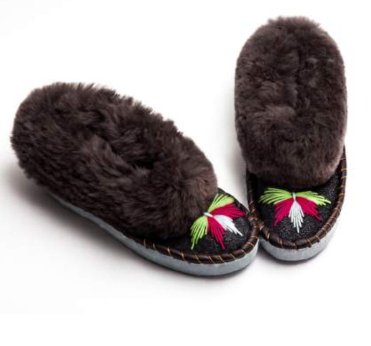 Sheepers Dark Grey And Black Slippers