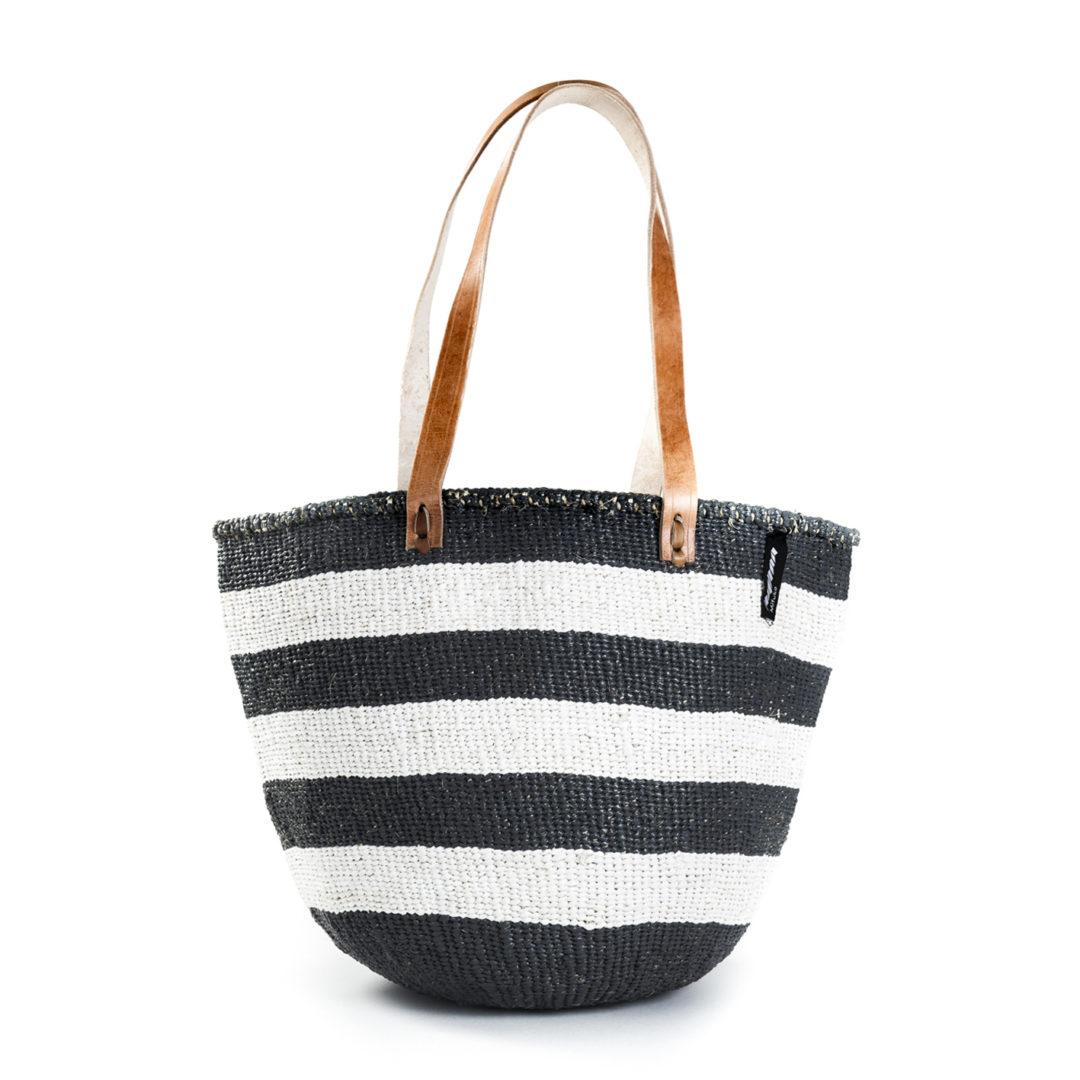 d1da5756f1b6 Trouva  Black   White Wide Striped Basket Bag