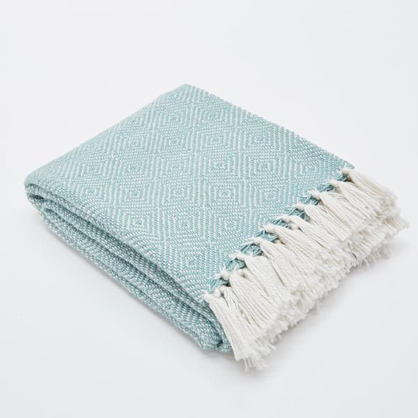 Weaver Green Teal Diamond Blanket