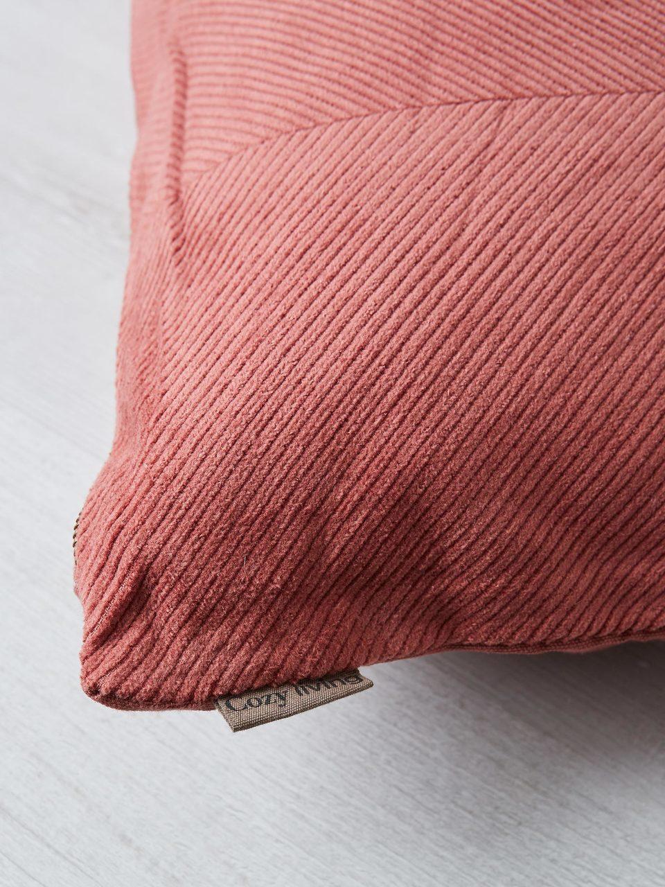 Cozy Living Rouge Pink Herringbone Textured Rectangular Corduroy Cushion