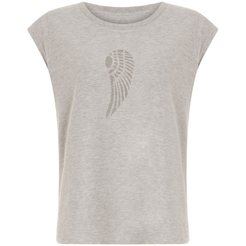 Coster Copenhagen Light Grey Melange Burn Out Wing T Shirt