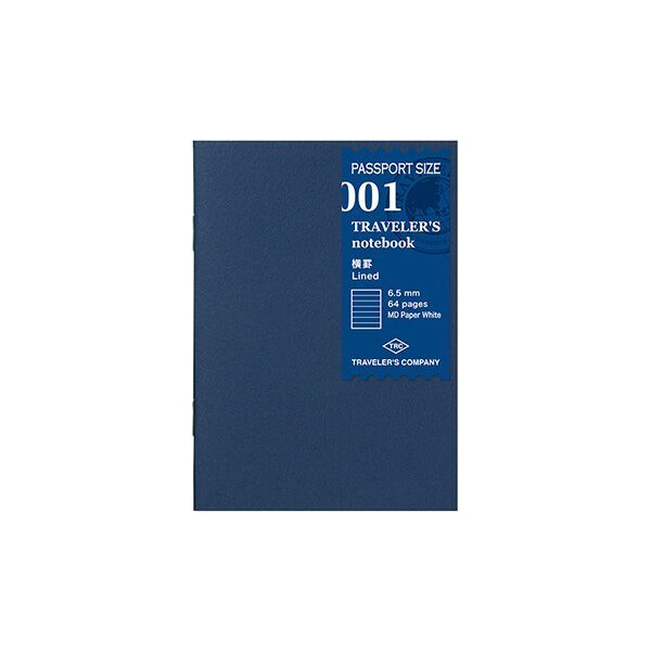 Traveler's Company Traveler's Notebook Refill 001 Lined Passport Size