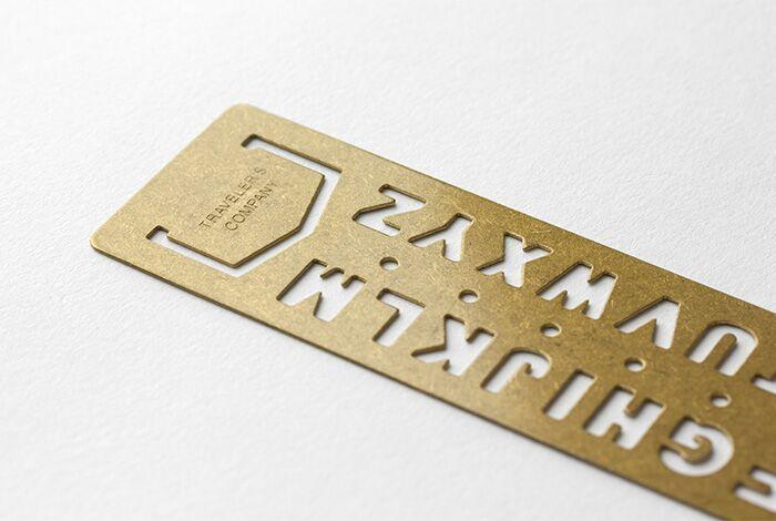 Traveler's Company TRC Brass Template Bookmark Alphabet