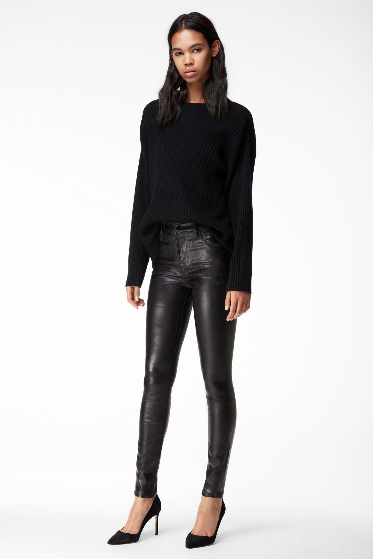 J Brand Maria High Rise Super Skinny Jeans in Galactic Black