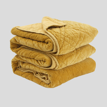 Wallace Cotton Medium Mustard Plush Velvet Bedspread