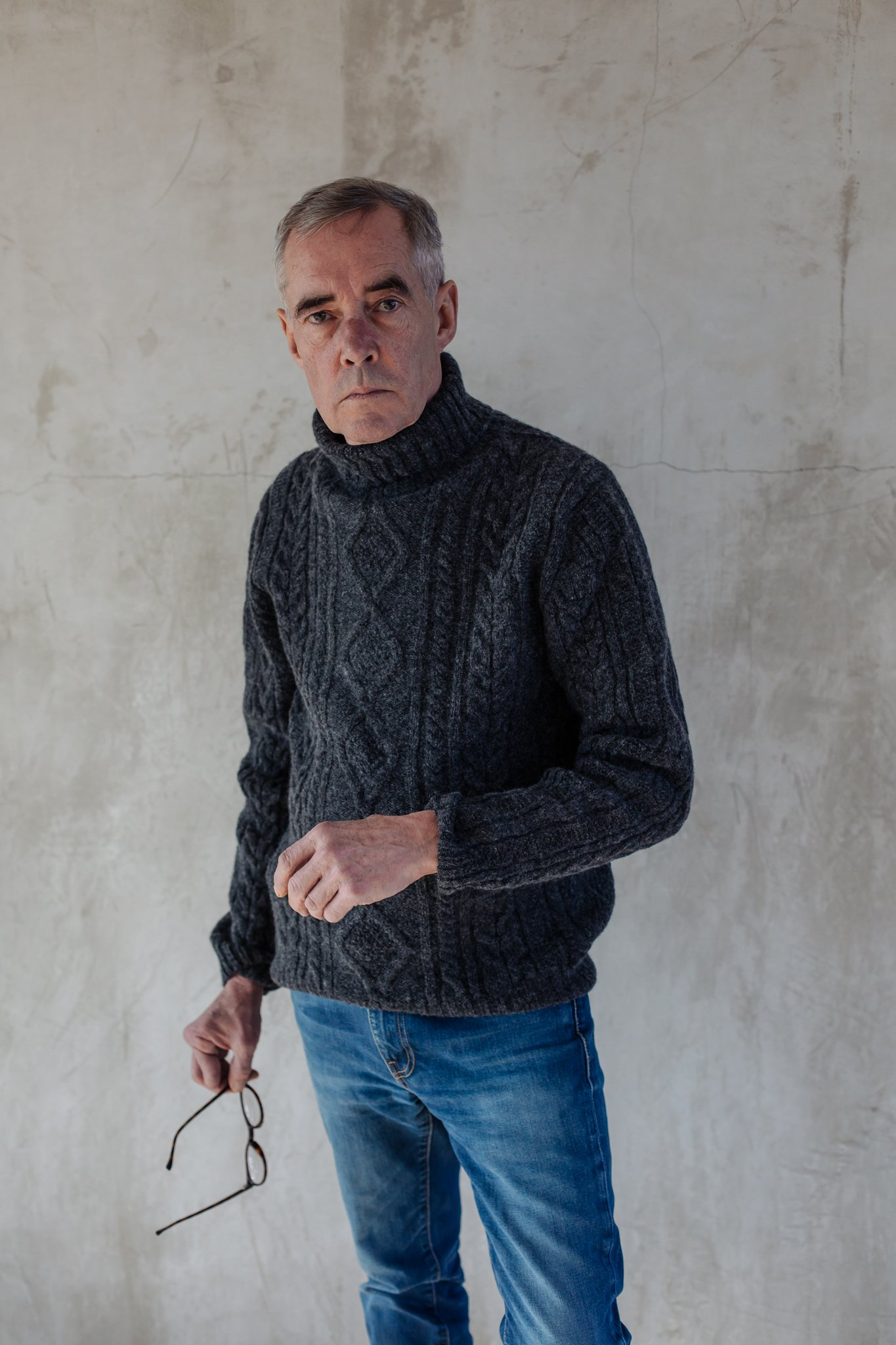 a95da2eb9896b4 Trouva: Oxford Grey Mens Lambswool Cable Knit Jumper