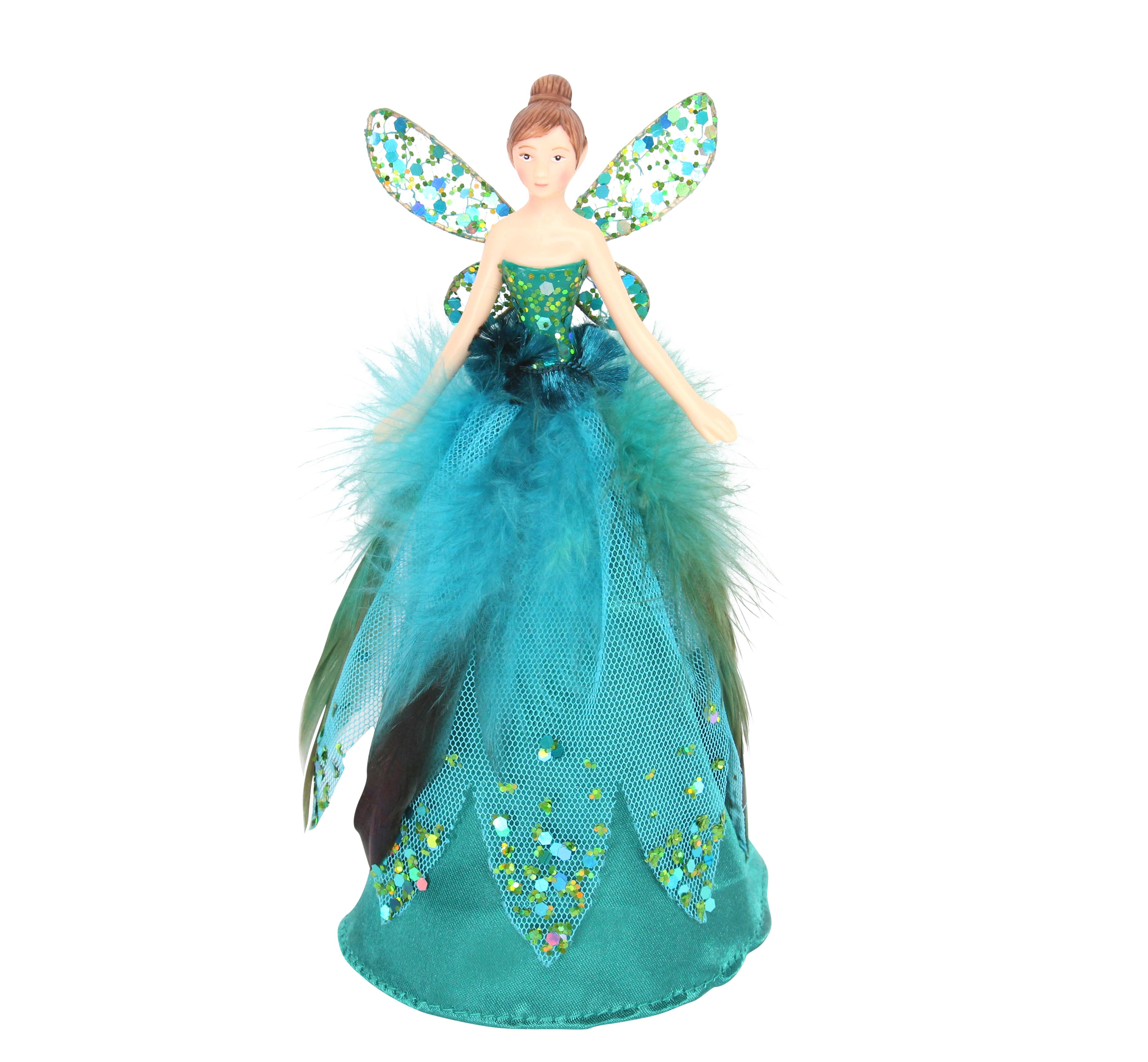 Gisela Graham Christmas Tree Topper: Trouva: Small Peacock Fairy Christmas Tree Topper