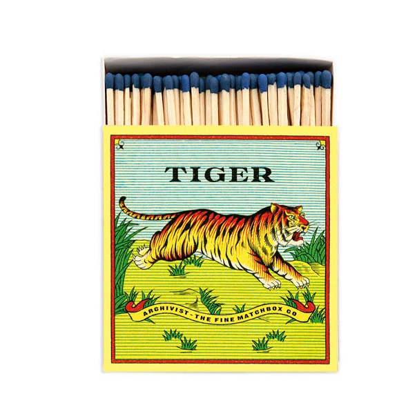 Archivist Luxury Long Matches in a Square Box with a picture of a Tiger on the front