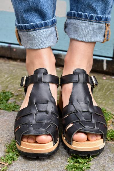 Hasbeens Swedish Black Sandals Grunge Black Swedish Hasbeens nvNm80w