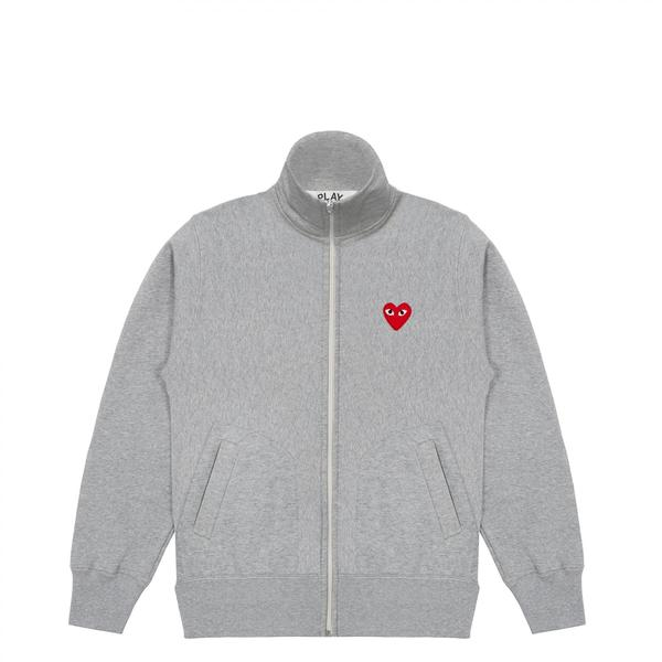 Comme Des Garcons Play Grey With Back Print Play Zip Through Funnel Neck Sweatshirt