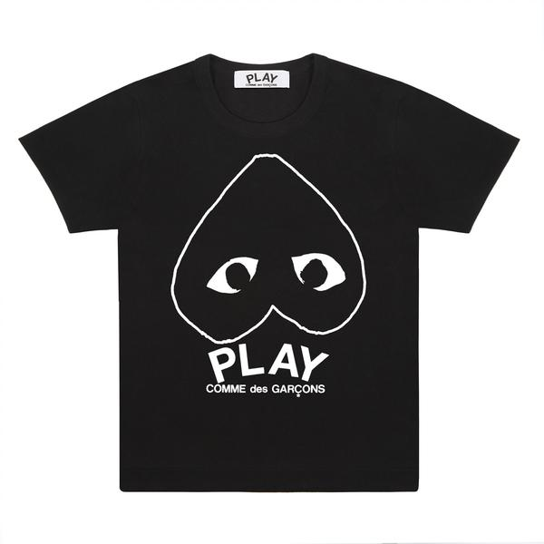 Comme Des Garcons Play Black With Upside Down Printed Logo Play T-Shirt
