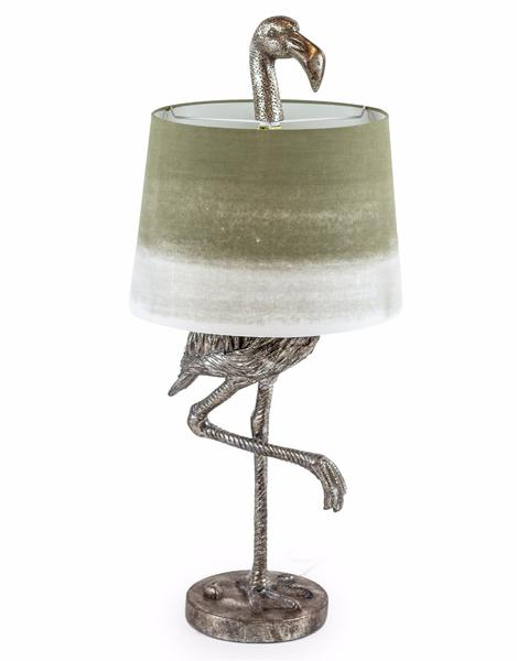 Persora Antique Silver Flamingo Table Lamp With Shade
